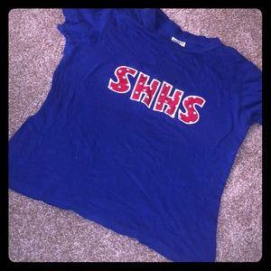 Blue varsity shirt